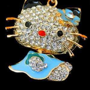 Blue Hello Kitty Cat Pendant Sweater Necklace